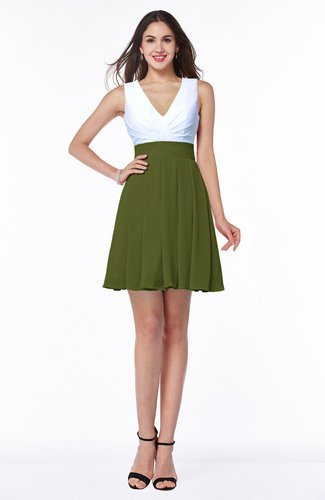 Olive Green Casual A-line Sleeveless Zip up Pleated Plus Size Bridesmaid  Dresses