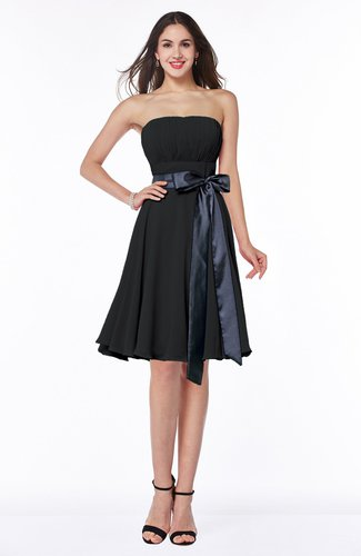 Classic A-line Strapless Knee Length Ruching Plus Size Bridesmaid Dresses