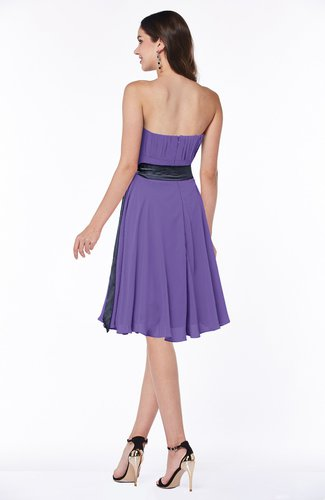 Lilac Classic A-line Strapless Knee Length Ruching Plus Size Bridesmaid  Dresses
