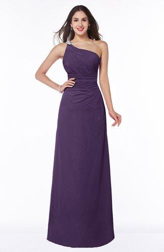 Modern One Shoulder Sleeveless Half Backless Chiffon Ruching Plus Size Bridesmaid Dresses