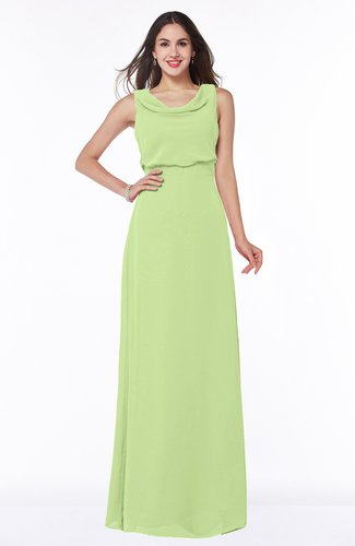 Modern A-line Jewel Chiffon Draped Plus Size Bridesmaid Dresses