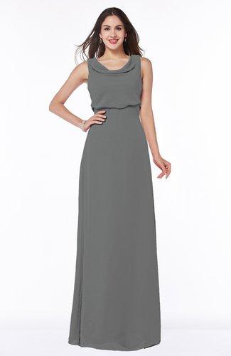 Modern A-line Jewel Chiffon Draped Plus Size Bridesmaid Dresses
