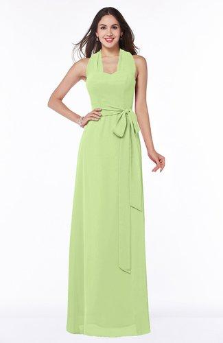 Plain A-line Halter Sleeveless Ribbon Plus Size Bridesmaid Dresses