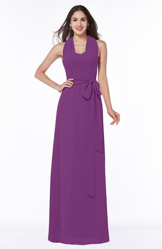 Plain A-line Halter Sleeveless Ribbon Plus Size Bridesmaid Dresses