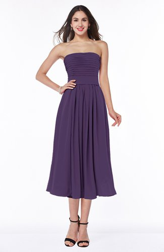 Mature A-line Chiffon Tea Length Pleated Plus Size Bridesmaid Dresses