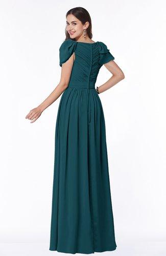 Blue Green Elegant Scoop Short Sleeve Zip up Chiffon Plus Size Bridesmaid  Dresses