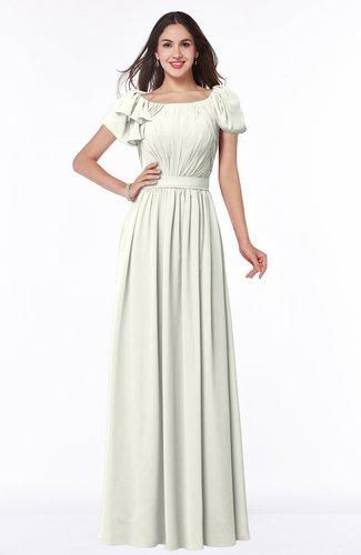 Elegant Scoop Short Sleeve Zip up Chiffon Plus Size Bridesmaid Dresses
