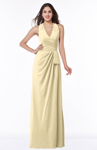 Classic Halter Sleeveless Zip up Chiffon Floor Length Plus Size Bridesmaid Dresses