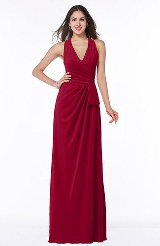 Classic Halter Sleeveless Zip up Chiffon Floor Length Plus Size Bridesmaid Dresses