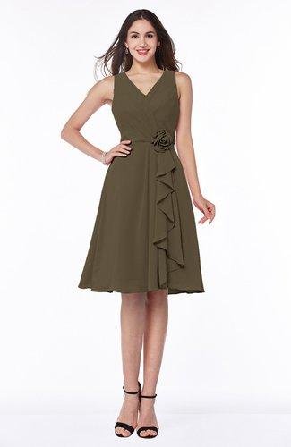 Casual A-line V-neck Zip up Fringe Plus Size Bridesmaid Dresses