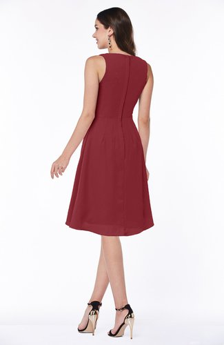 212b5898ddc Dark Red Casual A-line V-neck Zip up Fringe Plus Size Bridesmaid ...