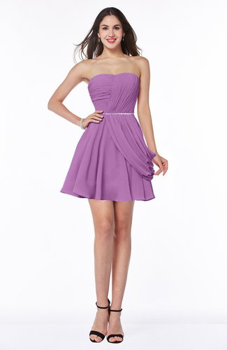 Elegant A-line Sleeveless Zipper Short Ribbon Plus Size Bridesmaid Dresses