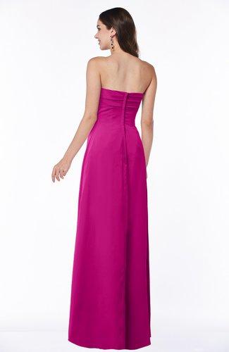 Hot Pink Modern Empire Strapless Zip up Chiffon Floor Length Plus Size  Bridesmaid Dresses