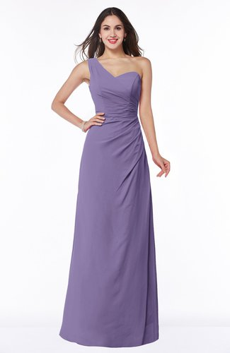 Sexy A-line Asymmetric Neckline Half Backless Chiffon Floor Length Plus Size Bridesmaid Dresses