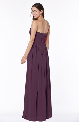 Plum Elegant A-line Sleeveless Floor Length Ruching Plus Size Bridesmaid  Dresses