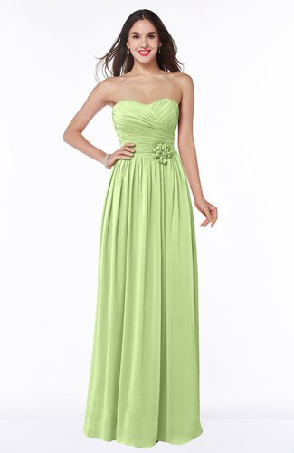 Romantic Sweetheart Sleeveless Chiffon Floor Length Flower Bridesmaid Dresses