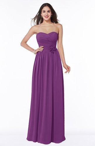 Romantic Sweetheart Sleeveless Chiffon Floor Length Flower Bridesmaid Dresses