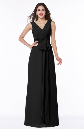 Modest A-line V-neck Sleeveless Floor Length Ribbon Plus Size Bridesmaid Dresses