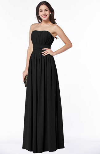 Black Mature A-line Strapless Chiffon Floor Length Plus Size Bridesmaid  Dresses