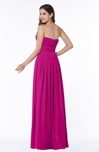 Hot Pink Mature A-line Strapless Chiffon Floor Length Plus Size Bridesmaid  Dresses