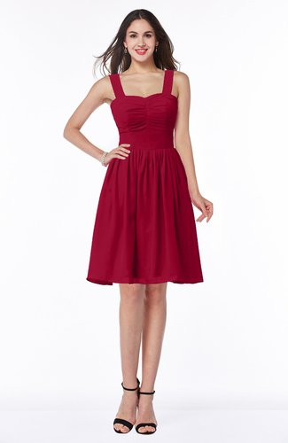 Traditional Sleeveless Zipper Chiffon Knee Length Pleated Bridesmaid Dresses