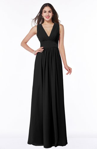 Modest Sleeveless Zipper Chiffon Floor Length Ruching Plus Size Bridesmaid Dresses