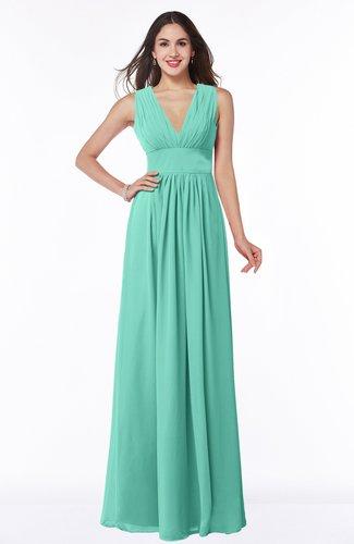 Modest Sleeveless Zipper Chiffon Floor Length Ruching Plus Size Bridesmaid Dresses