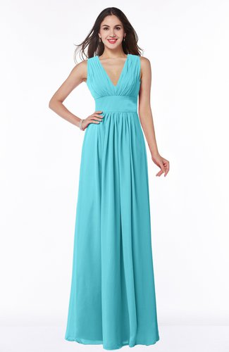 Turquoise Modest Sleeveless Zipper Chiffon Floor Length Ruching Plus Size  Bridesmaid Dresses
