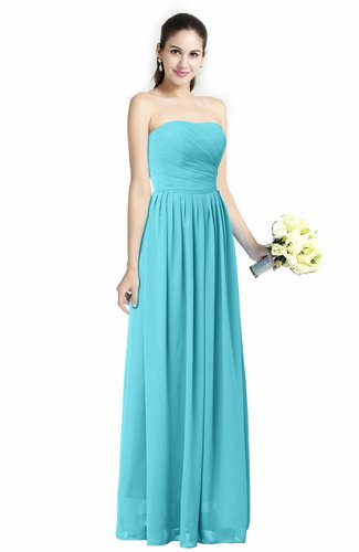 Turquoise Modern A-line Strapless Zipper Floor Length Plus Size Bridesmaid  Dresses