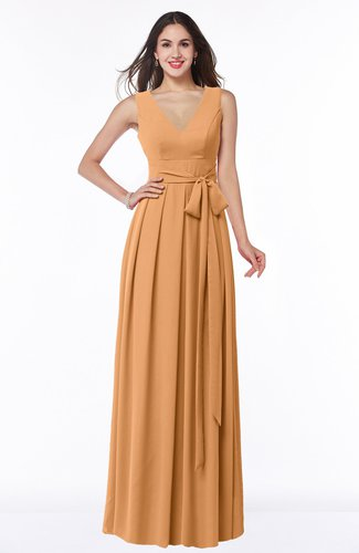 Plain V-neck Zipper Chiffon Ruching Plus Size Bridesmaid Dresses