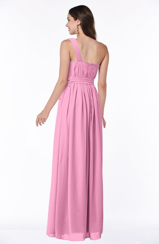 Pink Casual Asymmetric Neckline Zipper Floor Length Ribbon Plus Size  Bridesmaid Dresses