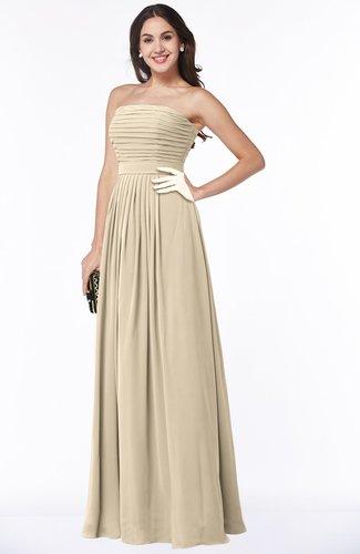 Champagne Modest A-line Sleeveless Chiffon Floor Length Ruching Plus Size  Bridesmaid Dresses