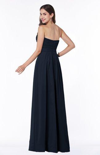 Navy Blue Modest A-line Sleeveless Chiffon Floor Length Ruching Plus Size  Bridesmaid Dresses
