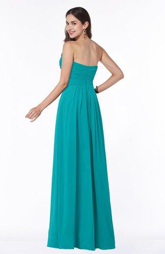 Teal Modest A-line Sleeveless Chiffon Floor Length Ruching Plus Size  Bridesmaid Dresses