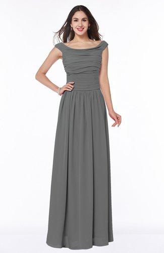 Elegant A-line Scoop Zip up Chiffon Floor Length Plus Size Bridesmaid Dresses