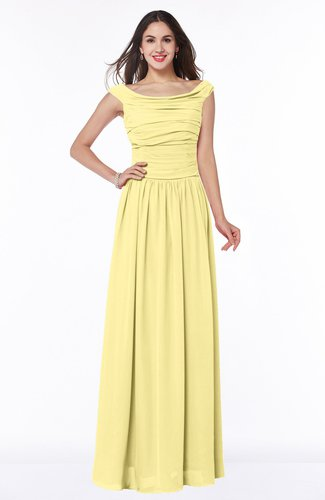 Elegant A-line Scoop Zip up Chiffon Floor Length Plus Size Bridesmaid Dresses