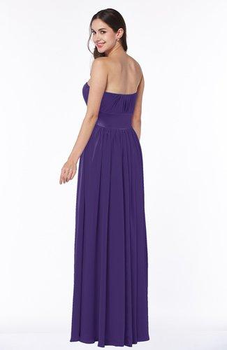 Dark Purple Traditional Strapless Sleeveless Chiffon Floor Length Sash Plus  Size Bridesmaid Dresses