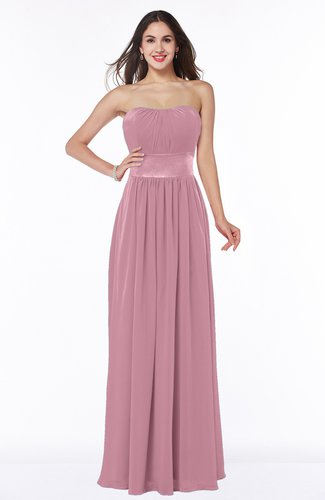 Traditional Strapless Sleeveless Chiffon Floor Length Sash Plus Size Bridesmaid Dresses