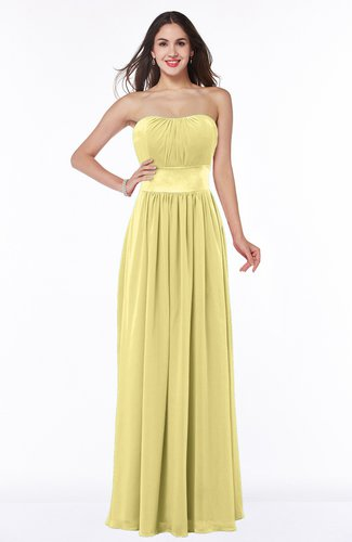 Traditional Strapless Sleeveless Chiffon Floor Length Sash Plus Size Bridesmaid Dresses