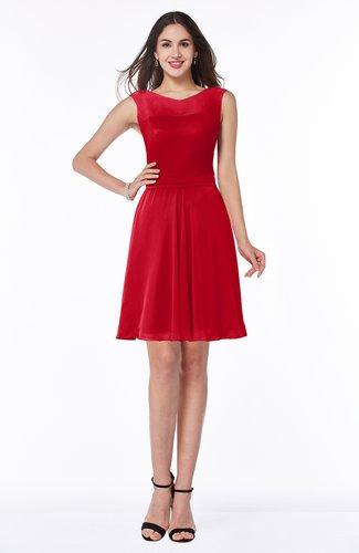 Plain A-line Jewel Half Backless Chiffon Mini Plus Size Bridesmaid Dresses