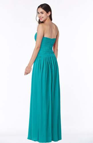 Teal Traditional A-line Sweetheart Sleeveless Floor Length Plus Size  Bridesmaid Dresses