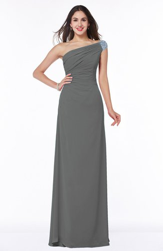 Simple A-line Asymmetric Neckline Sleeveless Half Backless Floor Length Plus Size Bridesmaid Dresses