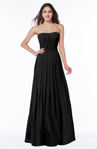 Simple Strapless Sleeveless Zip up Chiffon Ruching Plus Size Bridesmaid Dresses