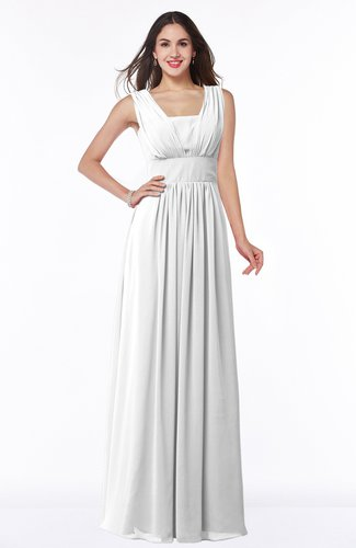 Simple A-line Sleeveless Zip up Floor Length Ruching Plus Size Bridesmaid Dresses