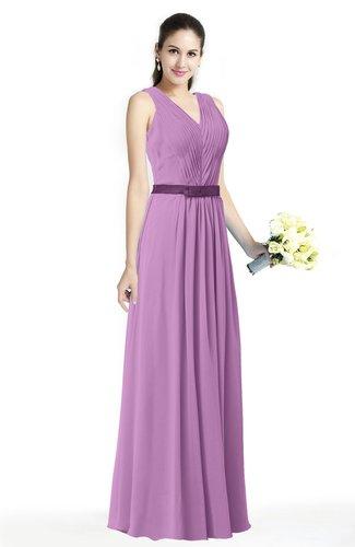 Simple A-line V-neck Chiffon Floor Length Bow Plus Size Bridesmaid Dresses