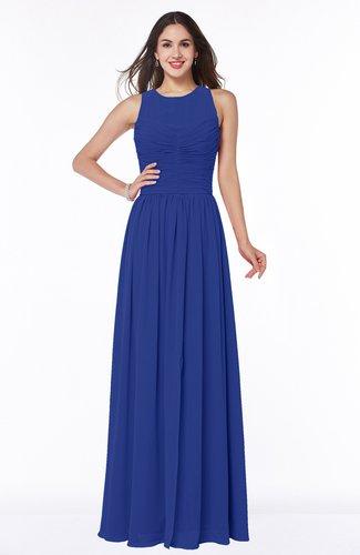 Elegant A-line Jewel Chiffon Floor Length Plus Size Bridesmaid Dresses