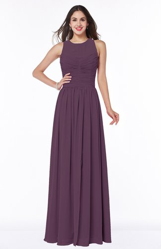 Elegant A-line Jewel Chiffon Floor Length Plus Size Bridesmaid Dresses