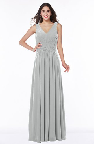 Mature A-line V-neck Sleeveless Zip up Chiffon Plus Size Bridesmaid Dresses