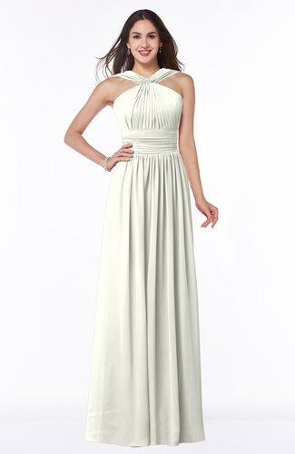 Simple A-line Thick Straps Sleeveless Half Backless Chiffon Bridesmaid Dresses