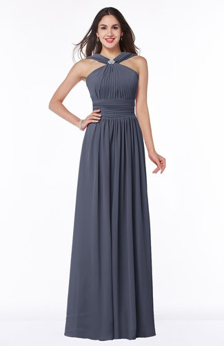 Simple A-line Thick Straps Sleeveless Half Backless Chiffon Bridesmaid Dresses